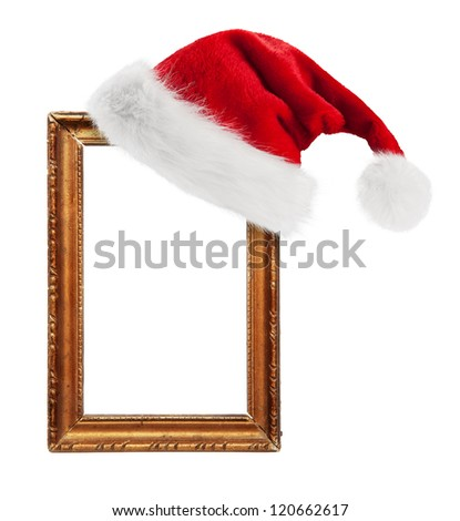Santa Claus hat hung on old frame