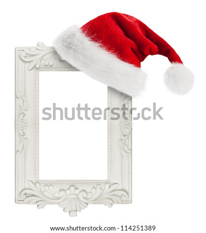 Santa Claus hat hung on the vintage frame