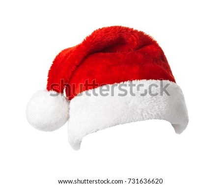 Santa Claus hat isolated on white background. Christmas and New Year celebration