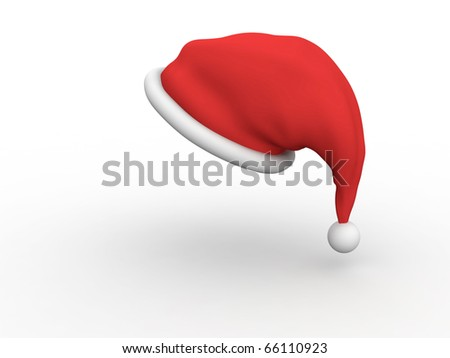 Santa Claus hat isolated on white background with shadow
