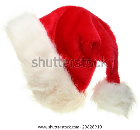 Santa Claus hat isolated on white. Christmas icons collection.