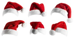 Santa Claus Hat set isolated over white background
