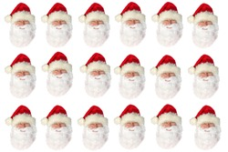 Santa Claus Head on white. Repeating Santa Claus Head Pattern. Isolated On White.