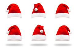 Santa Claus Helper Hats Isolated On White Background. Christmas And New Year Celebration Theme
