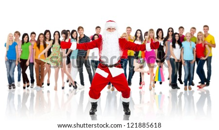 Santa Claus hold wide open palm gesture full length portrait with raised gloves hands arms over big group of casual people diverse student background, concept merry christmas time and happy new year