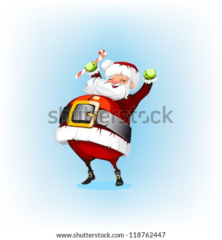 Santa Claus holding a candy
