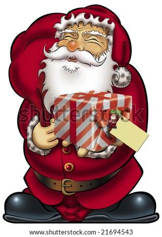 Santa Claus holding a gift with blank card.