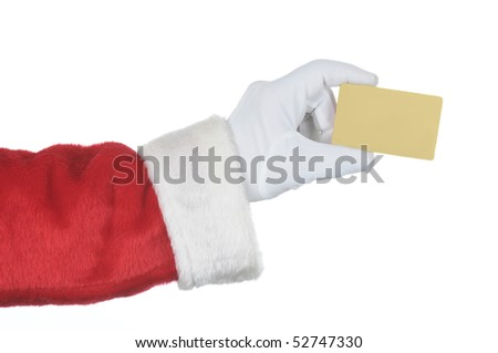 Santa Claus holding a gold credit card isolated over white.