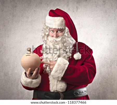 Santa Claus holding a vessel for the money