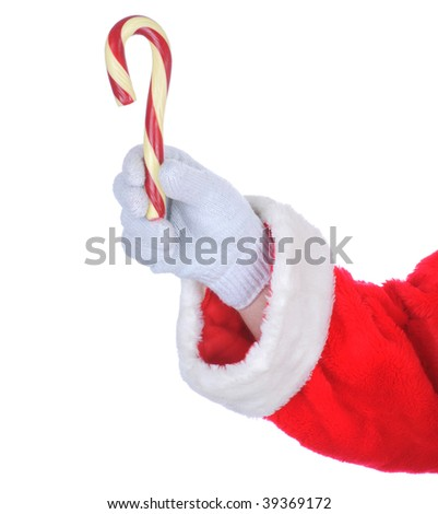Santa Claus holding an Old Fashioned Candy Cane isolated on white. Hand and hand only.