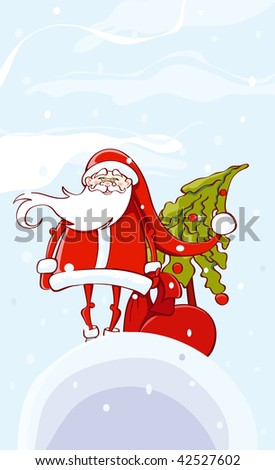 Santa Claus holding bag with gifts