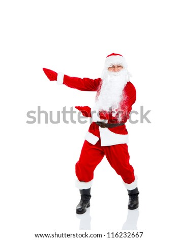 Santa Claus holding Banner point finger glove at blank empty copy space for Text isolated over white background, concept of christmas new year sale shopping