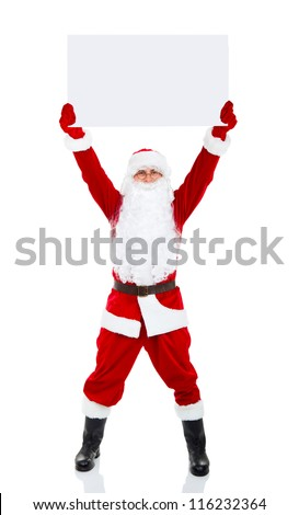 Santa Claus holding Banner raised arm hand over head, white board with blank empty copy space for Text isolated over white background, concept of christmas new year sale shopping