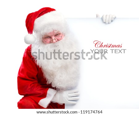 Santa Claus holding Banner with Space for Your Text. Holiday Christmas Blank Sign