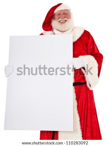 Santa Claus holding blank white sign. All on white background.