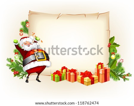 Santa Claus holding candy and standing beside scroll for gifts