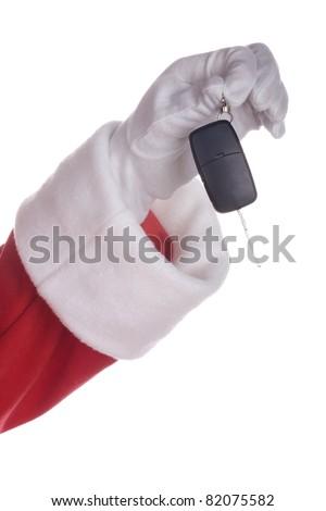 Santa claus holding car key