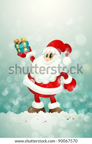 Santa Claus Holding Gift in a Snowy Environment | Christmas Greeting Card Background