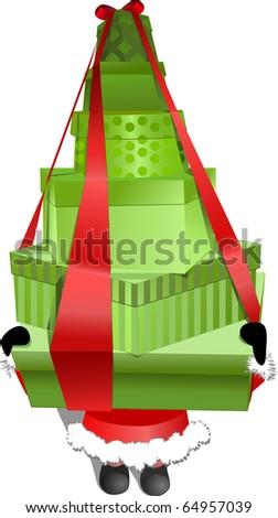 Santa Claus holding  many Christmas shopping gift boxes