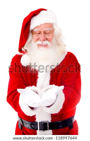 Santa Claus holding something in his hands - isolated over a white background
