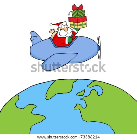 Santa Claus Holding Up A Stack Flying Around Earth