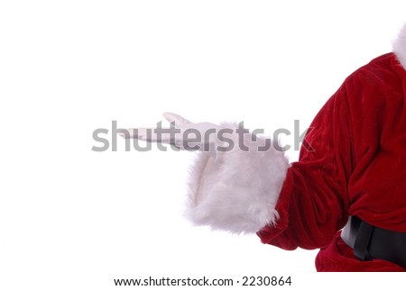 Santa Claus holds your message or product on white background - stock photo