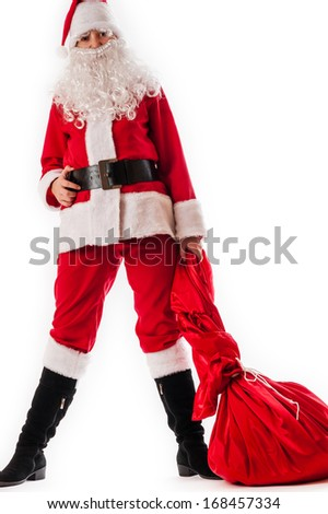 Santa Claus in a big bag of gifts #168457334