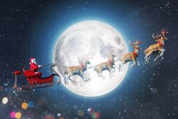 Santa claus in a sleigh ready to deliver presents with sleigh
