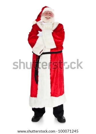 Santa Claus in authentic look. All on white background.