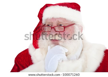 Santa Claus in authentic look deliberates a decision. All on white background.