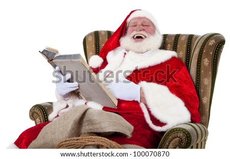 Santa Claus in authentic look having fun telling a story. All on white background.