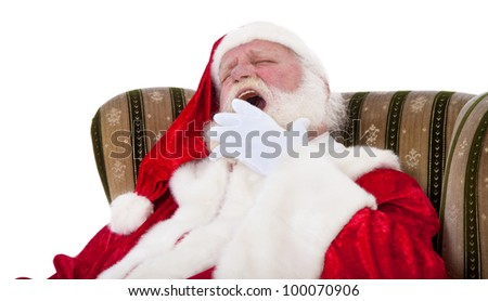 Santa Claus in authentic look tired. All on white background.