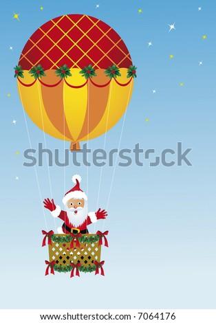 Santa Claus in hot air balloon