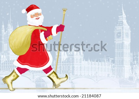 Santa Claus in London. Christmas. New year.