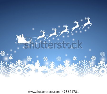Santa Claus in sled rides in the sled reindeer on a blue background with snowflakes and glitter