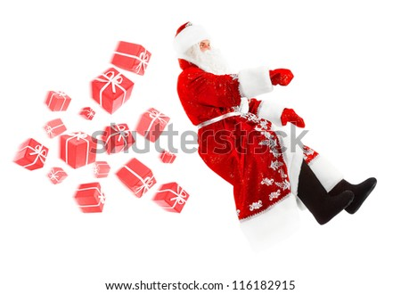 santa claus is driving and delivering gifts, isolated on white