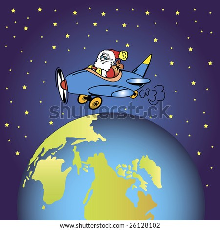 santa claus is flying in a little plane over the earth