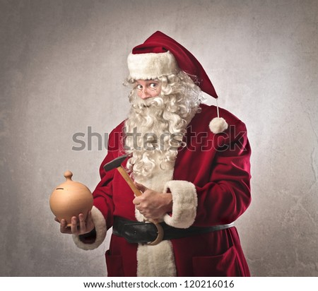 Santa Claus is going to break a vessel full of money