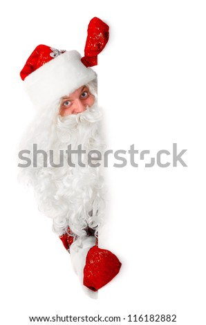 santa claus is looking out of white board, isolated on white