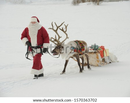 Santa Claus leading his reindeer and sleigh through the snow