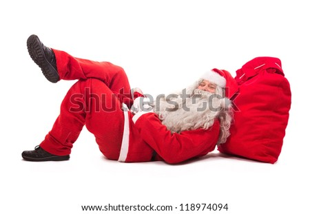 Santa Claus lie on bag