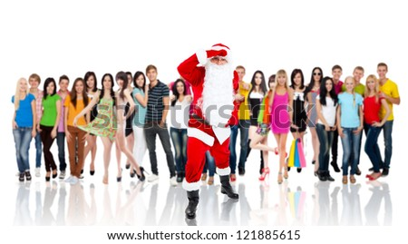 Santa Claus looking through for something, look far away hold hand at head, over big group of casual people diverse student background, concept of merry christmas time and happy new year