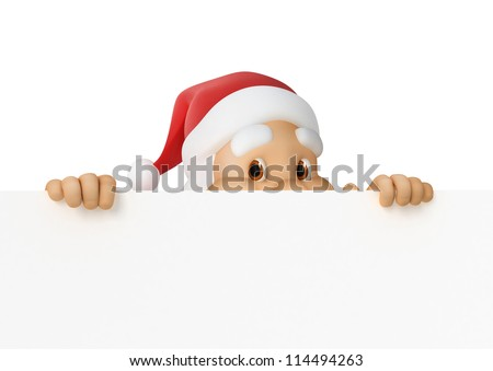 Santa Claus looks out of paper, 3d illustration, work-path included. animation- http://footage.shutterstock.com/clip-2888020