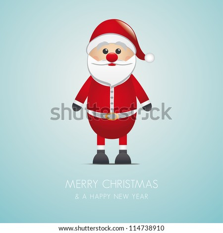 santa claus merry christmas type blue background