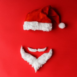 Santa Claus minimal concept. Christmas New Year flat lay.