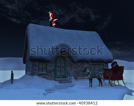 Santa with sleigh and reindeer rudolph red nose glum santa pictures to