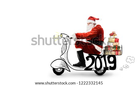 Santa Claus on scooter delivering Christmas or New Year 2019 gifts at white background #1222332145