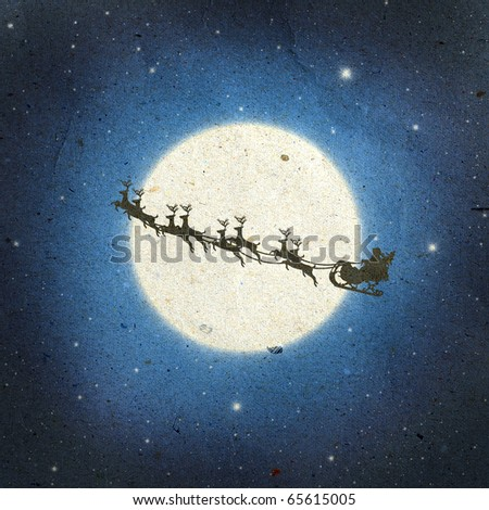 Santa Claus On Sledge With Deer And white Moon on old paper background