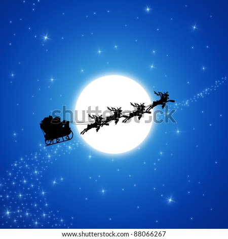 Santa Claus on Sledge With Reindeer are running across white Moon