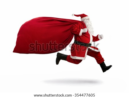 Santa Claus on the run to delivery christmas gifts isolated on white background - Shutterstock ID 354477605
